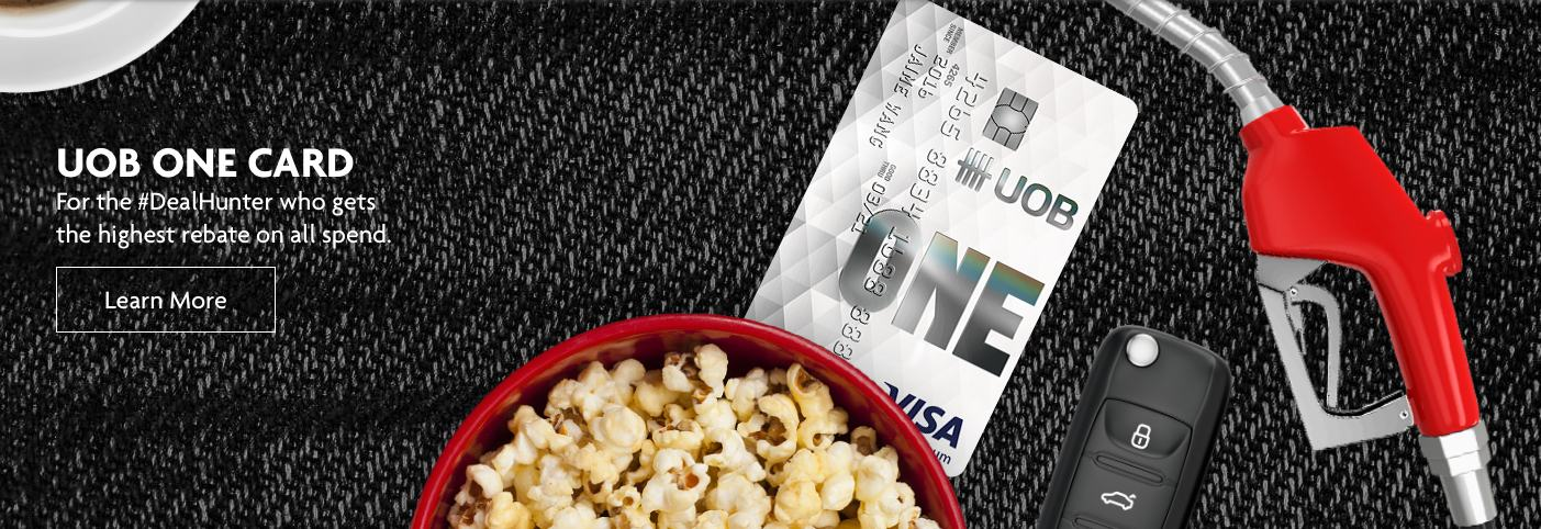 UOB One Card with popcorn and petrol pump