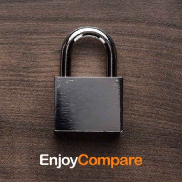 Padlock wooden background with EnjoyCompare logo for VPN security
